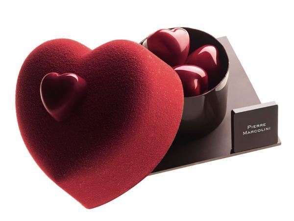 Photo chocolat en forme de coeur rouge - Pierre Marcolini