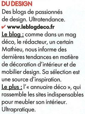 extrait du magazine Elle decoration sur Le blog deco