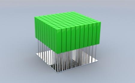 fauteuil vert composé de 100 amortisseurs à gaz