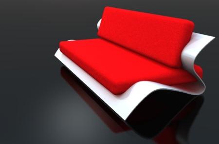 sofa bend rouge et blanc - stéphane perruchon design
