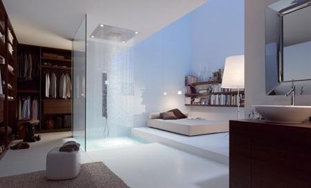 chambre open space avec douche intégrée Hansgrohe