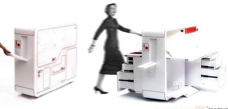 bureau mobile sur roulettes out of box workstation. Black Bedroom Furniture Sets. Home Design Ideas