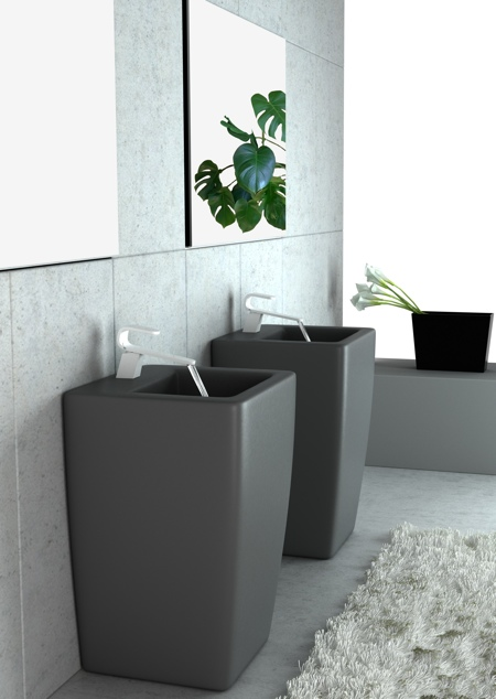 salle de bain Kawa en noir et blanc - Karim Rashid pour Cisal
