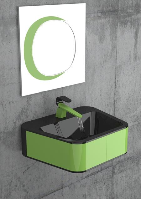 Kawa salle de bain verte et noir par Karim Rashid pour Cisal