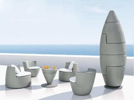 salon de jardin en fibre Hularo tressée Dedon Obelisk