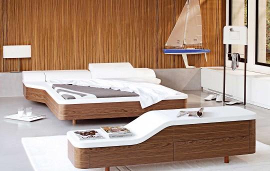 Chambre Marina - lit en bois et cuir blanc design