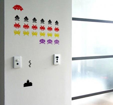 stickers muraux du jeu video Space invaders