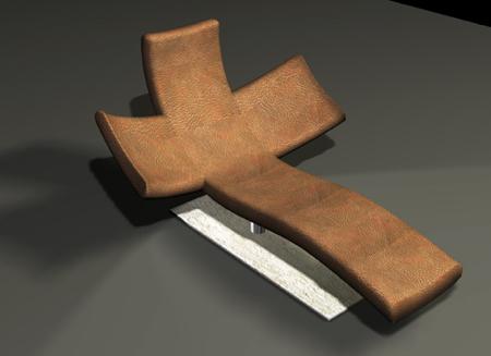 Chaise longue en forme de croix chrétienne Corcovado par Alexis Tricoire