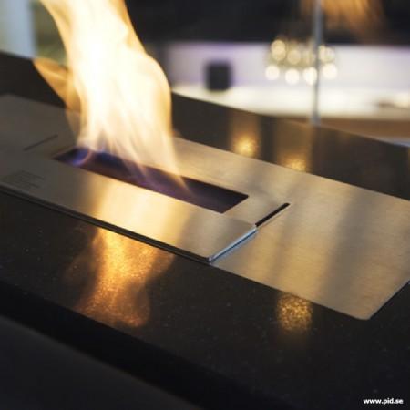 feu dans la cheminée ethanol en verre Vauni divider