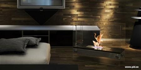 cheminée design en verre Vauni