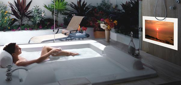 T l viseur tanche pour salle de bain agath for Televiseur miroir encastrable