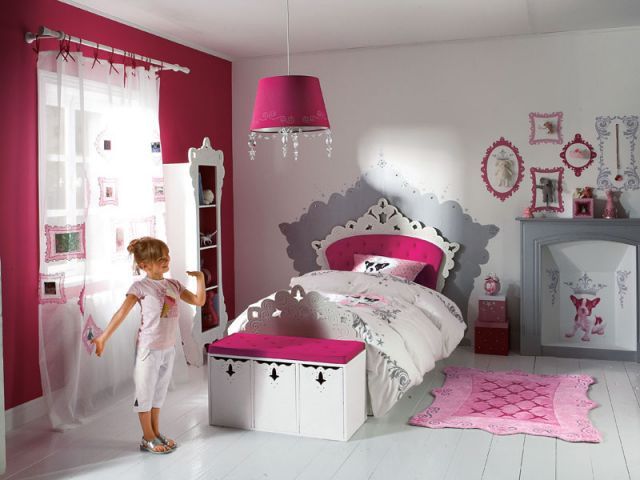 Girls' Pink and Grey Bedroom