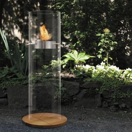 cheminee cylindrique en verre éthanol en extérieur - Ponton fireplace