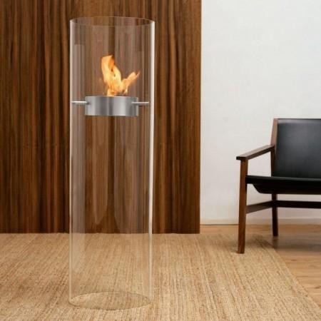 cheminée cylindrique en verre ethanol Ponton fireplace