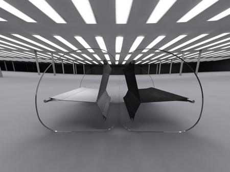 fauteuil en verre noir et blanc Wipeout Stéphane Perruchon