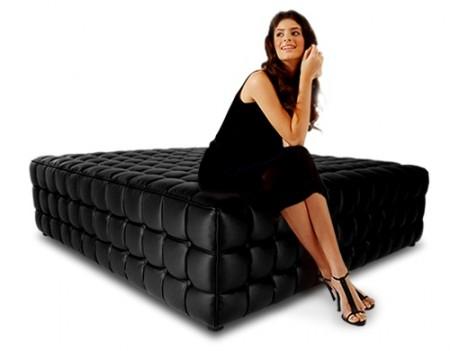 pouf capitonné Quadrato noir MyFab design
