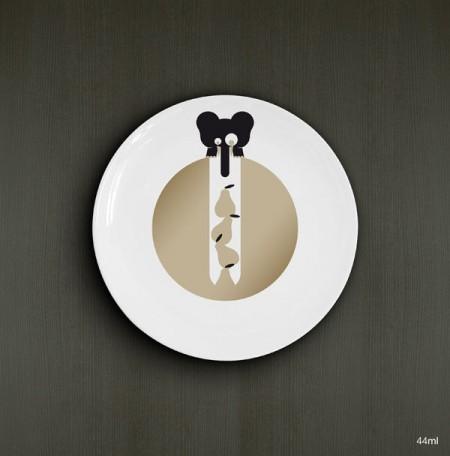 Assiette design avec un éléphant par Laurent Meurgey