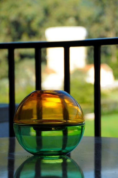 Vase design rond bicolore