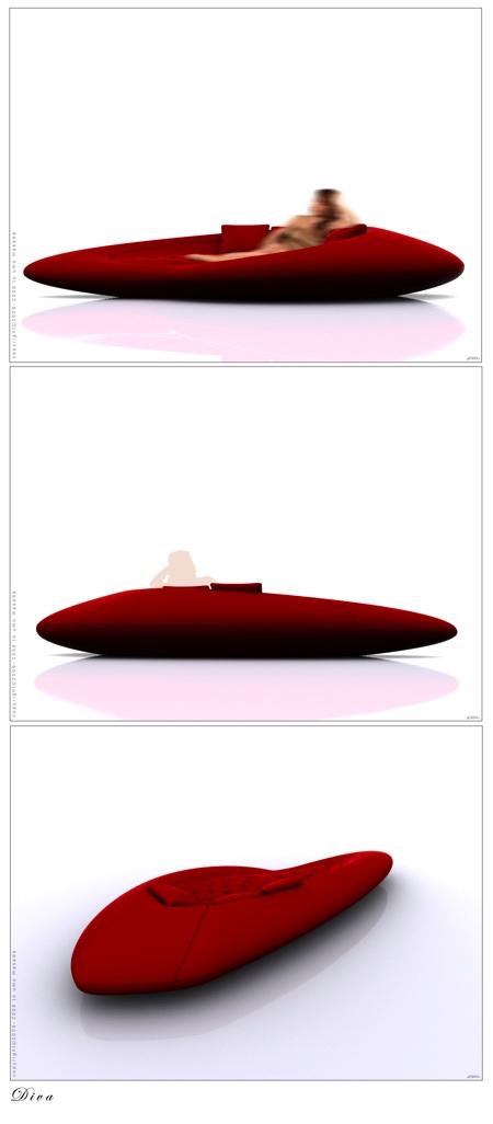 Divan lounge rouge Diva par Umo Masada