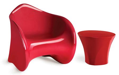 Fauteuil design moulé rouge