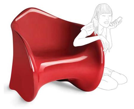 Fauteuil design rouge Goen