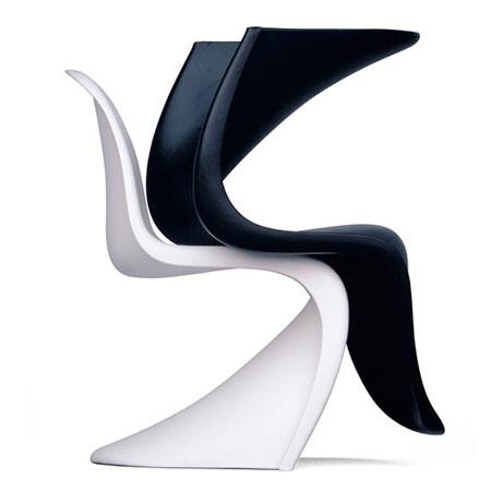Panton chair blanche et noire