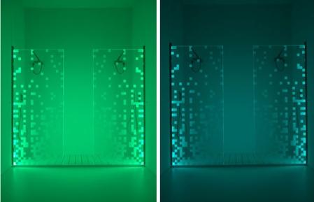 Porte de douche de couleur verte