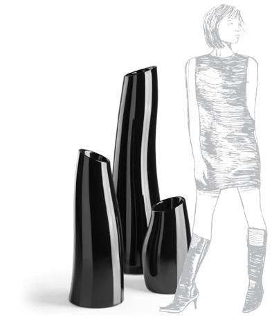 Pot design ondulé noir Madame, Plust