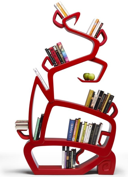 Bibliothèque design rouge