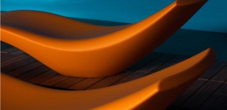 Chaise longue design orange