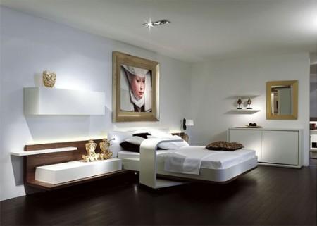 Chambre avec un parquet noir