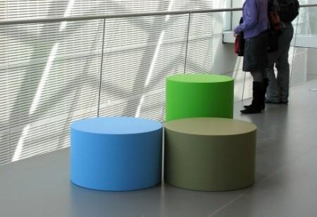 Poufs design bleu vert kaki