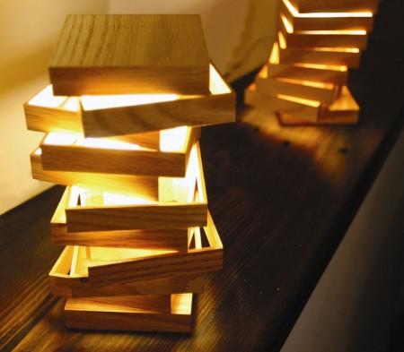Lampe en bois design Cubix