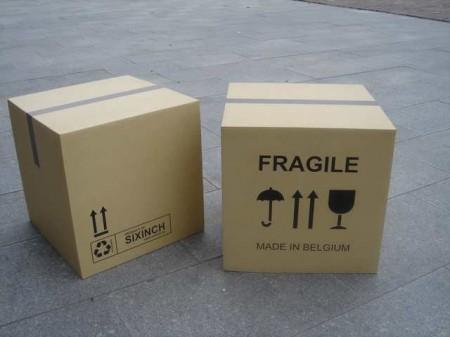 Pouf boîte en carton
