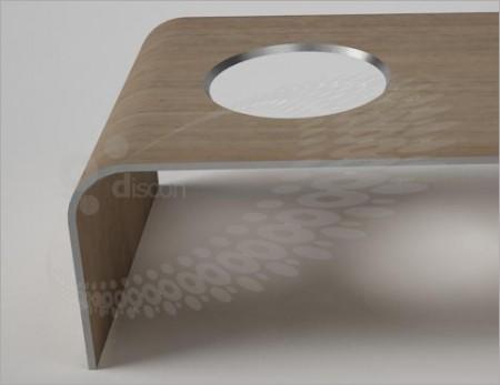 Table design avec un trou Buc, Discoh