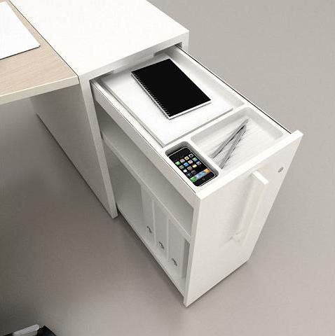 Tiroir bureau logic avec espace iphone for Bureau tiroir