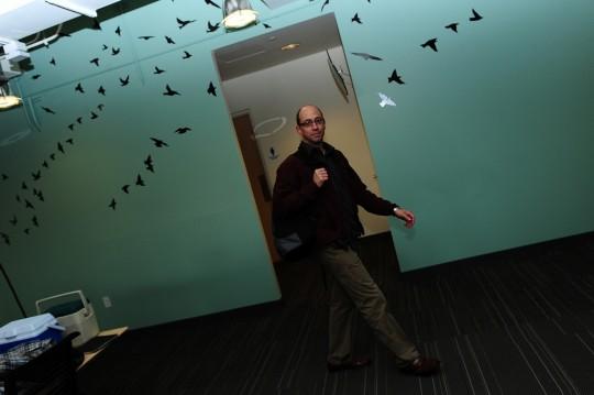 Bureaux Twitter - mur vert avec des oiseaux