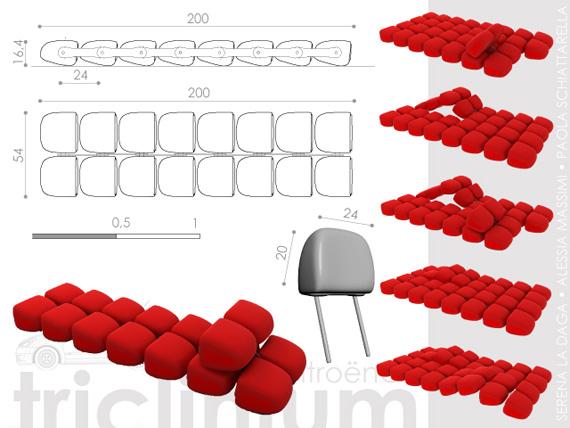 canap cr avec des appuis t te de citro n c2. Black Bedroom Furniture Sets. Home Design Ideas