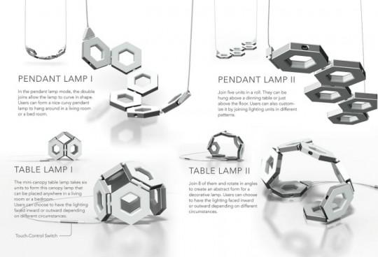 Combinaisons avec le luminaire modulable Tile