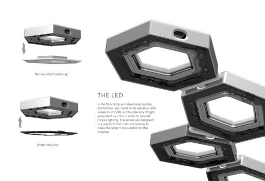 Luminaire futuriste LED Tile