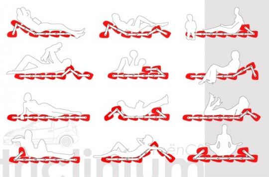 Différentes positions possible avec le sofa Triclinium