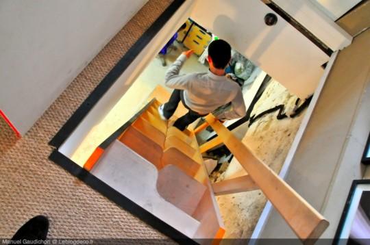 Escalier avec des marches asymétriques