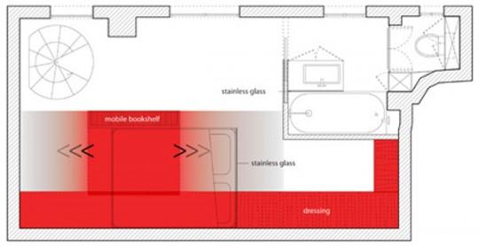 Plan appartement Red Nest par Paul Coudamy