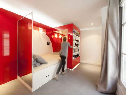 Cloison coulissante dans un petit appartement