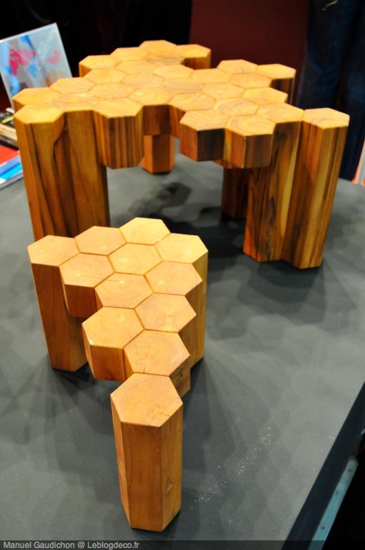 table design en bois octogones plato. Black Bedroom Furniture Sets. Home Design Ideas