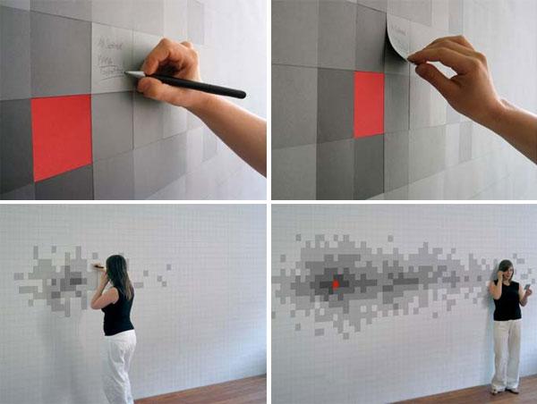 pixelnotes le papier peint avec des post it. Black Bedroom Furniture Sets. Home Design Ideas