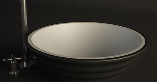 Vasque en corian bicolore noir et blanc