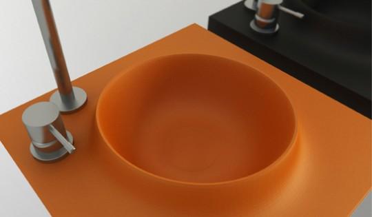 Vasque en corian orange en forme de volcan Volkeo