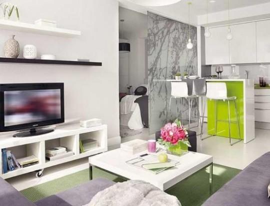 Intérieur design blanc et vert - petit appartement