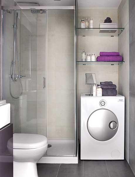 Machine à laver dans une petite salle de bain design
